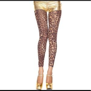 Opaque Cheetah Print footless tights one size